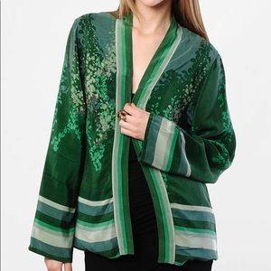Winter Kate Vintage Silk Printed Green Cardigan XS